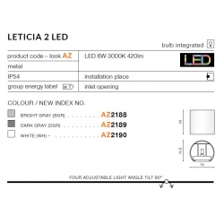 AZZARDO Kinkiet LETICIA 2 LED AZ2188 (BRIGHT ŻÓŁTY)
